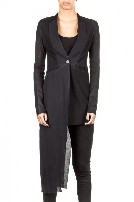 Isabel Benenato Damen Jacke asymmetrisch schwarz
