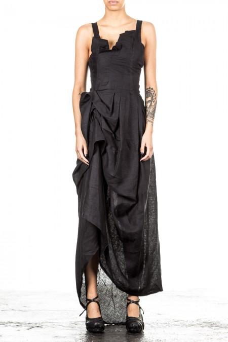 Isabel Benenato Damen Leinenkleid schwarz