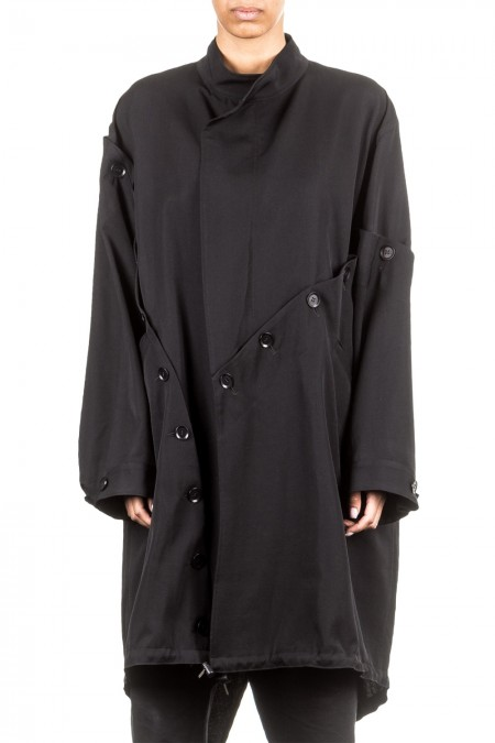 Yohji Yamamoto Damen Mantel oversized schwarz