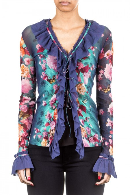 FUZZI Damen Tüll Cardigan multicolour