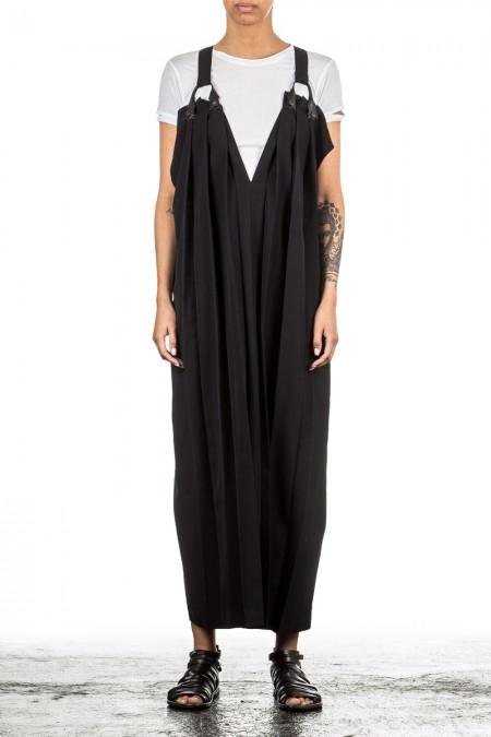 Yohji Yamamoto Damen Faltenkleid schwarz