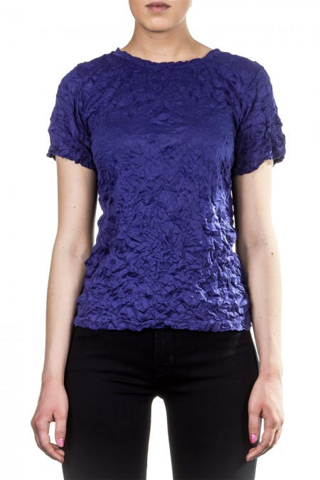 Issey Miyake Cauliflower Damen Shirt Crashed Look blau