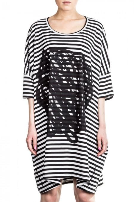 Rundholz Black Label Damen Kleid Avantgarde gestreift schwarz weiß