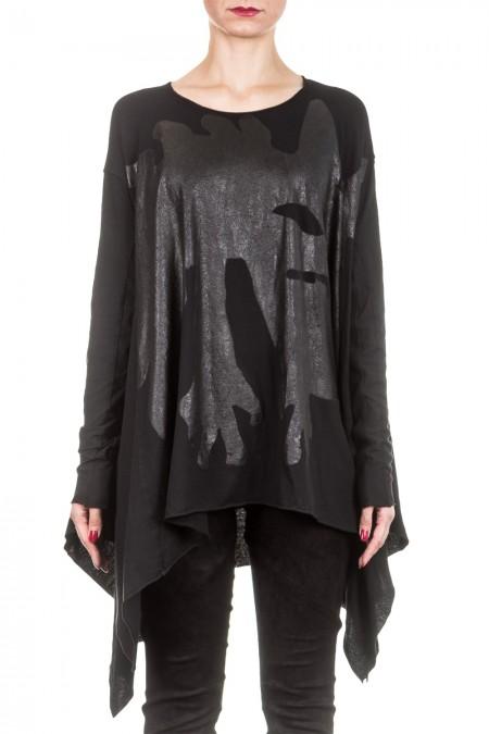 Rundholz Dip Damen Oversized Shirt mit Print schwarz