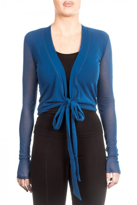 FUZZI Damen Tüll Cardigan blau