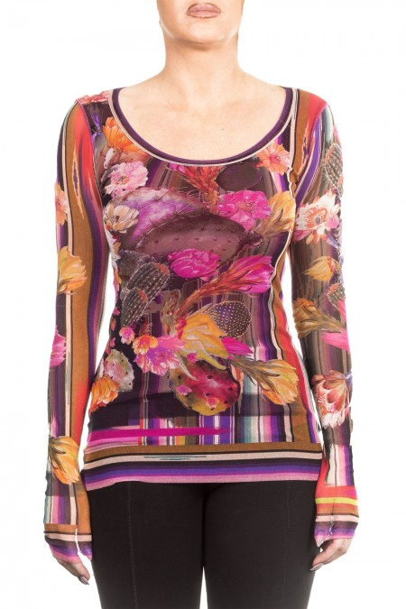 FUZZI Damen Langarmshirt Floral multicolour
