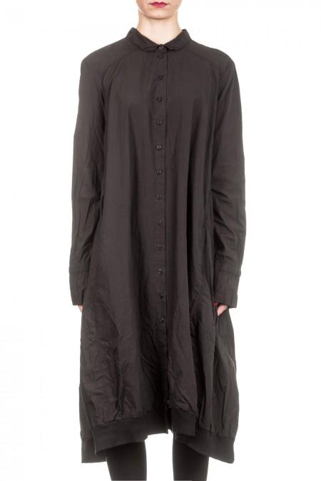 Rundholz Dip Damen Langarm Kleid schwarz