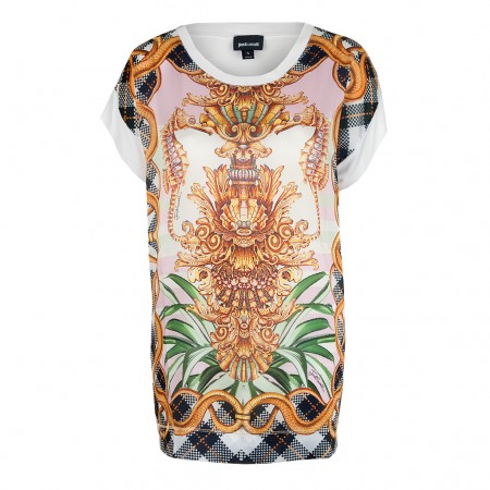 Just Cavalli Oversized Shirt maritim baroque weiß