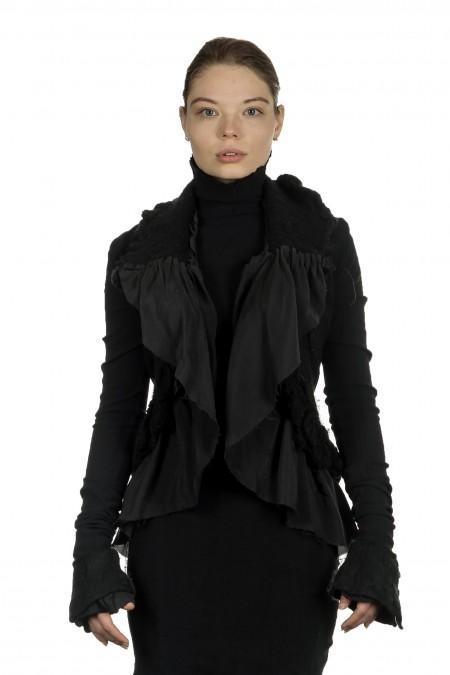 Marc Le Bihan Damen Avantgarde Jacke im Layering-Look schwarz