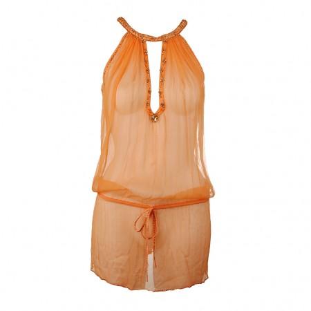 Shivadiva Seiden Top Kleid orange