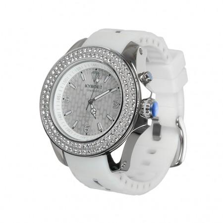 Kyboe Uhr GIGANT-48 silber/weiss Strass