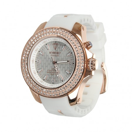 Kyboe Uhr GIGANT-48 rotgold/weiss Strass