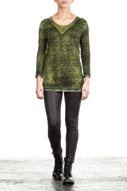 AVANT TOI Damen Leinen Shirt 3/4 Arm grün schwarz | LuxuryLoft