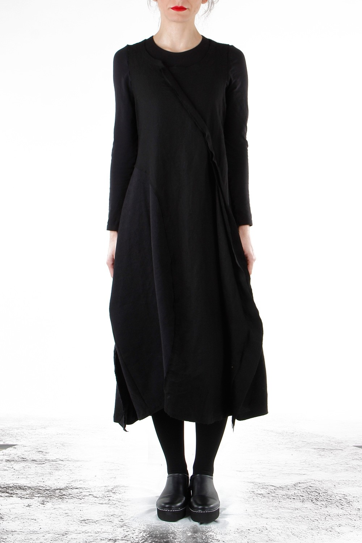 Rundholz Damen Kleid Avantgarde Schwarz Luxuryloft