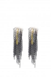 17 by Stephanie Schneider Kettenohrringe silber schwarz gelb