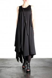 Yohji Yamamoto Damen Kleid Mit Schräger Knopfleiste schwarz