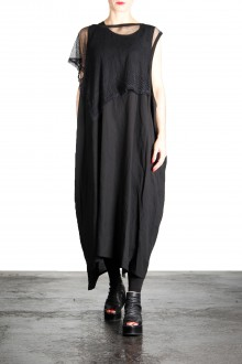 Yohji Yamamoto Damen Kleid Mit Netzapplikation schwarz