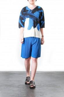 Homme Plissé Issey Miyake Herren T-Shirt print blau