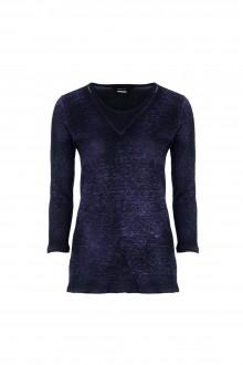 AVANT TOI Damen Leinen Shirt 3/4 Arm blau schwarz
