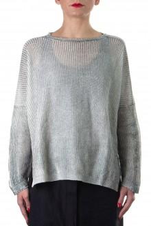 Avant Toi Damen Leinen Pullover Handpainted grün