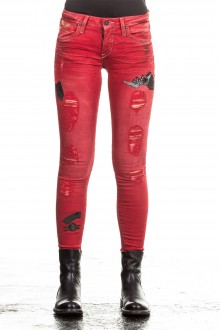 Robin`s Jean Damen Jeans SKINNY PATCHES rot