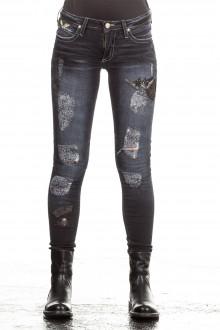 Robin`s Jean Damen Jeans SKINNY PATCHES dunkelblau