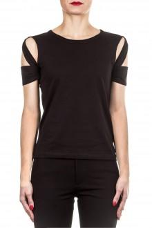 Helmut Lang Damen Baumwoll T-Shirt BONDAGE schwarz
