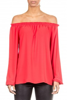 Janice & Jo Damen Bluse Carmenausschnitt rot