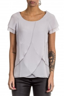 Janice & Jo Damen 1/2 Arm Bluse Layer Look grau