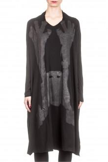 Rundholz Dip Damen Kleid Oversized mit Print schwarz