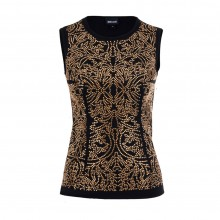 Just Cavalli Top ornamental Strasssteine schwarz