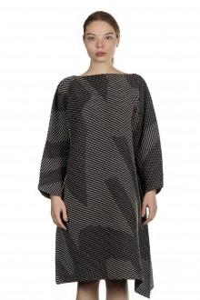 Issey Miyake Plissé Kleid bestickt schwarz weiß