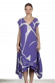 Issey Miyake Plissée Avantgarde Damen Kleid violett weiß