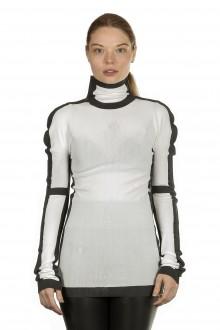 Issey Miyake Damen Avantgarde Pullover Rollkragen schwarz weiß