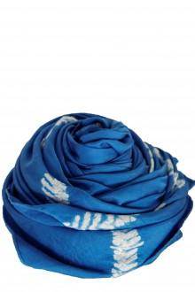Suzusan Damen Seide Tuch blau weiß