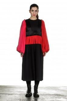 Comme Des Garçons Damen Trägerrock schwarz rot