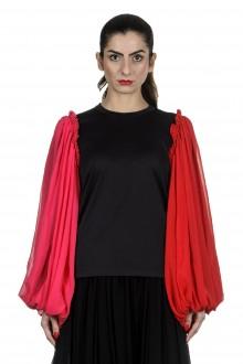 Comme Des Garçons Damen Bluse mit Rüschen schwarz rot