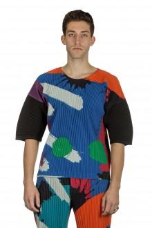Homme Plissé Issey Miyake Herren T-Shirt multicolor