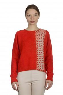 Suzusan Damen Kaschmir Pullover FRAGMENT orange grau