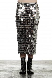 Paco Rabanne Damen Midirock mit Pailletten silber