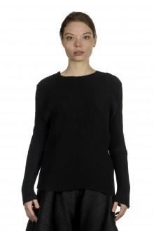 Issey Miyake Plissee Damen Longsleeve Shirt schwarz