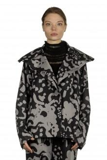 Issey Miyake Damen Kurzjacke mit Print schwarz grau