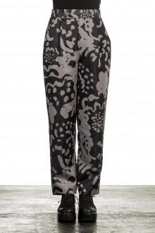 Issey Miyake Damen Hose mit Print schwarz grau