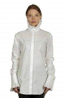 Paco Rabanne Damen Bluse mit Stehkragen weiß