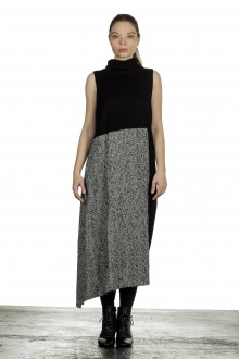 Y's Yohji Yamamoto Damen Avantgarde Strickkleid mit Karomuster schwarz
