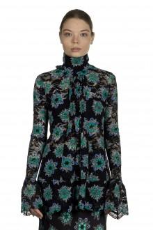 Paco Rabanne Damen Bluse mit Spitzendetails mehrfarbig