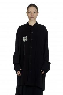 Yohji Yamamoto Damen Avantgarde Bluse mit Print schwarz