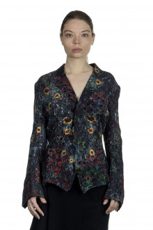 Yohji Yamamoto Damen Avantgarde Blazer mit Blumen-Print mehrfahrbig