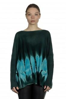 F Cashmere Damen Kaschmir Oversize Pullover blau grün