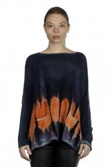 F Cashmere Damen Kaschmir Oversize Pullover blau orange